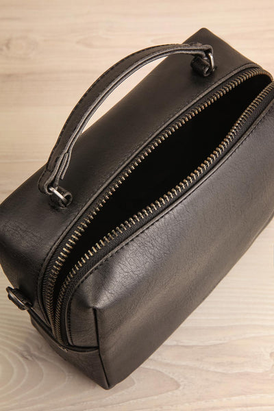 Liva Black Vegan Boxy Crossbody Bag inside view | La Petite Garçonne
