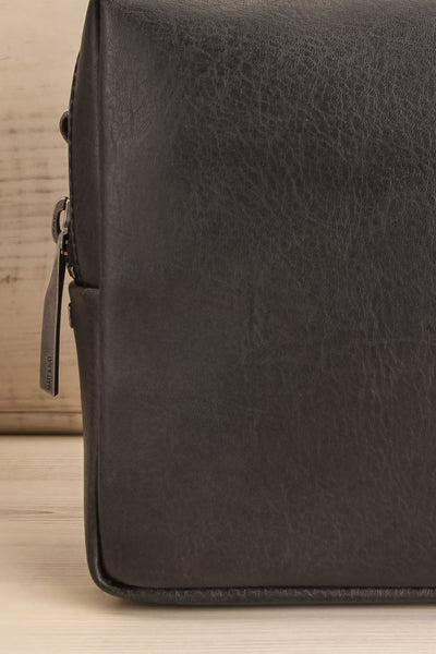 Liva Black Vegan Boxy Crossbody Bag front close-up | La Petite Garçonne