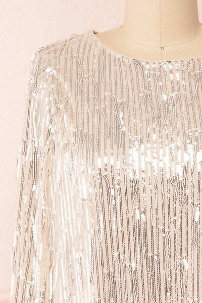 Lobelia Beige Long Sleeve Sequin Dress | Boutique 1861 front close-up