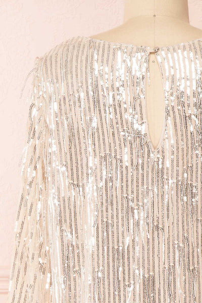 Lobelia Beige Long Sleeve Sequin Dress | Boutique 1861 back close-up