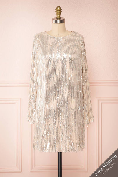 Lobelia Beige Long Sleeve Sequin Dress | Boutique 1861 front view