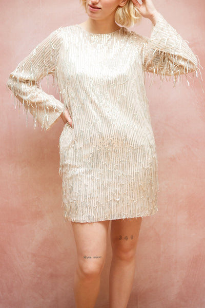 Lobelia Beige Long Sleeve Sequin Dress | Boutique 1861 model