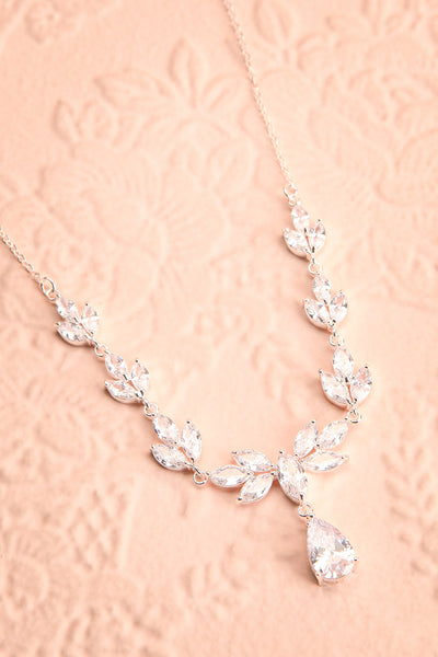 Loelia Silver Necklace w/ Drop Diamond Pendant | Boutique 1861 flat view