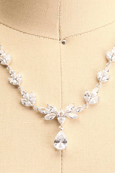 Loelia Silver Necklace w/ Drop Diamond Pendant | Boutique 1861 close-up