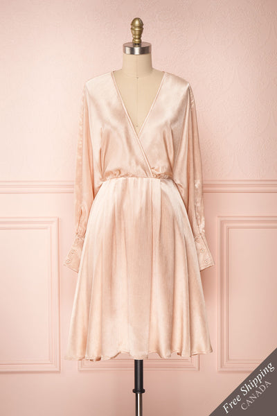 Loralyn Pink Satin Party Dress | Robe front view FS | Boutique 1861
