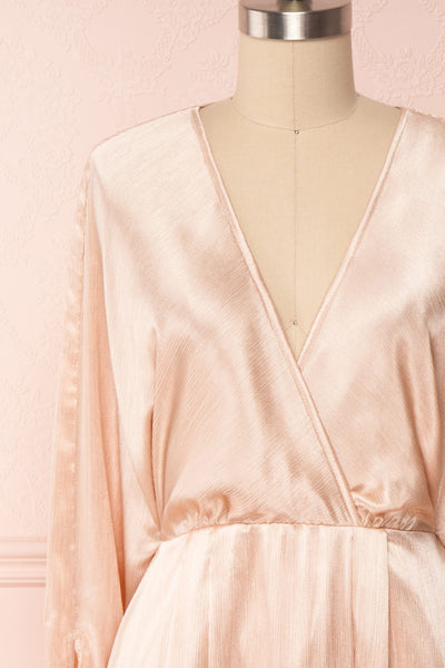 Loralyn Pink Satin Party Dress | Robe front close up | Boutique 1861