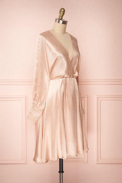 Loralyn Pink Satin Party Dress | Robe side view | Boutique 1861