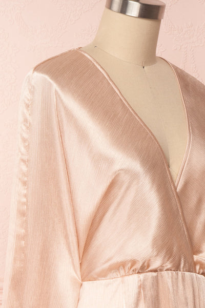Loralyn Pink Satin Party Dress | Robe side close up | Boutique 1861