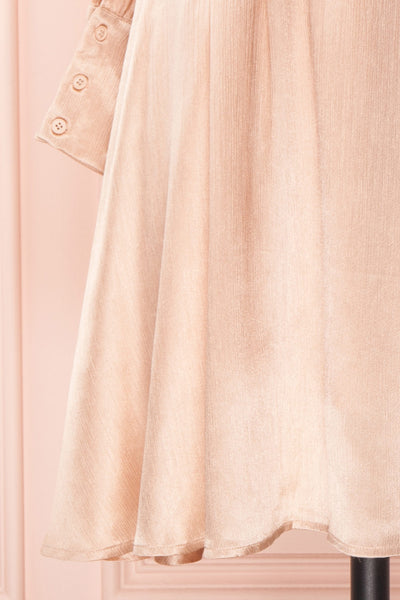 Loralyn Pink Satin Party Dress | Robe skirt close up | Boutique 1861