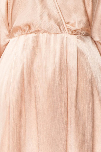 Loralyn Pink Satin Party Dress | Robe fabric close up | Boutique 1861