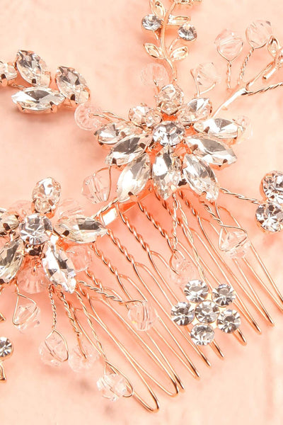 Lorna Rosegold Floral Crystals Hair Comb | Boudoir 1861 close-up