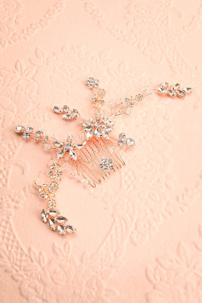 Lorna Rosegold Floral Crystals Hair Comb | Boudoir 1861