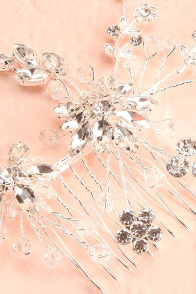 Lorna Silver Floral Crystals Hair Comb | Boudoir 1861 close-up
