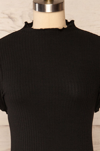 Loula Black Ribbed Frill-Trimmed Crop Top | La petite garçonne front close up