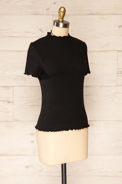 Loula Black Ribbed Frill-Trimmed Crop Top | La petite garçonne side view
