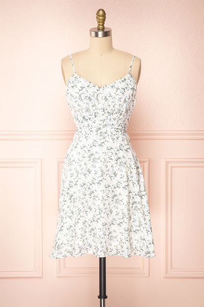 Loupat White Floral A-Line Short Dress | Boutique 1861 front view