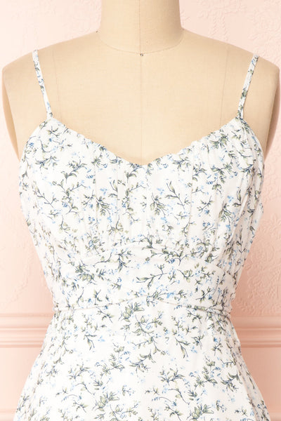 Loupat White Floral A-Line Short Dress | Boutique 1861 front close-up
