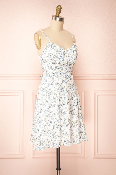 Loupat White Floral A-Line Short Dress | Boutique 1861 side view