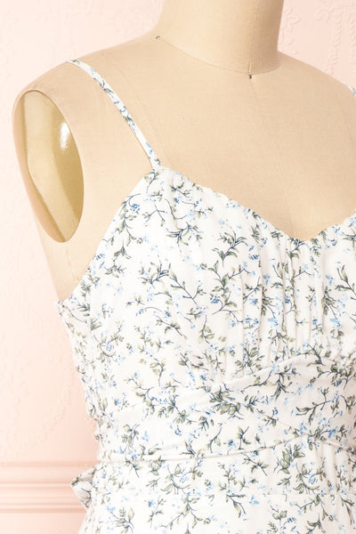 Loupat White Floral A-Line Short Dress | Boutique 1861 side close-up