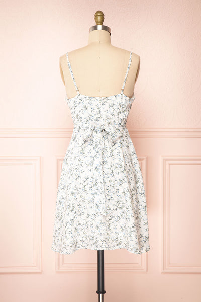 Loupat White Floral A-Line Short Dress | Boutique 1861 back view