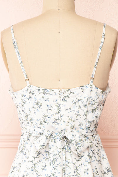 Loupat White Floral A-Line Short Dress | Boutique 1861 back close-up