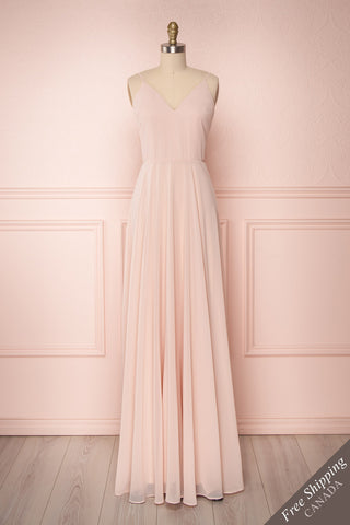 Lovina Blush Pink Chiffon Gown with Tied Open Back | Boudoir 1861