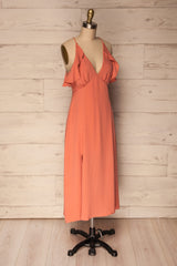 Lowicz Blush Midi Summer Cocktail Dress w/ Slits | La Petite Garçonne