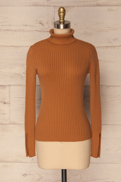 Lubon Mocha Brown Ribbed Knit Turtleneck Top | La Petite Garçonne 1