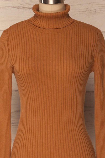 Lubon Mocha Brown Ribbed Knit Turtleneck Top | La Petite Garçonne 3