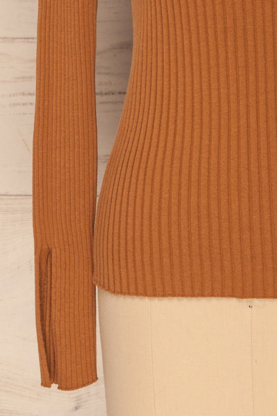 Lubon Mocha Brown Ribbed Knit Turtleneck Top | La Petite Garçonne 8