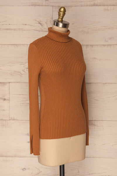 Lubon Mocha Brown Ribbed Knit Turtleneck Top | La Petite Garçonne 4
