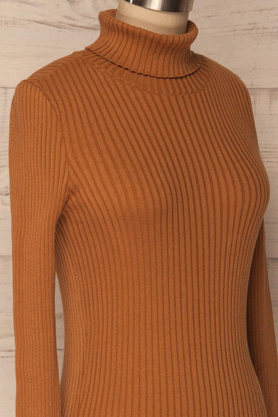 Lubon Mocha Brown Ribbed Knit Turtleneck Top | La Petite Garçonne 5