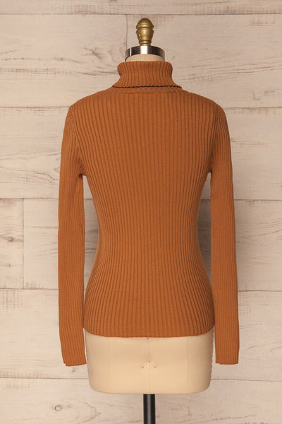 Lubon Mocha Brown Ribbed Knit Turtleneck Top | La Petite Garçonne 6