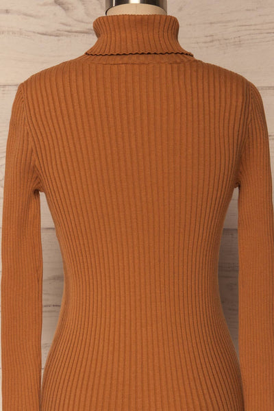 Lubon Mocha Brown Ribbed Knit Turtleneck Top | La Petite Garçonne 7