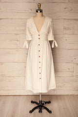 Lubsko Sand Beige & White Striped Button-Up Dress | La Petite Garçonne