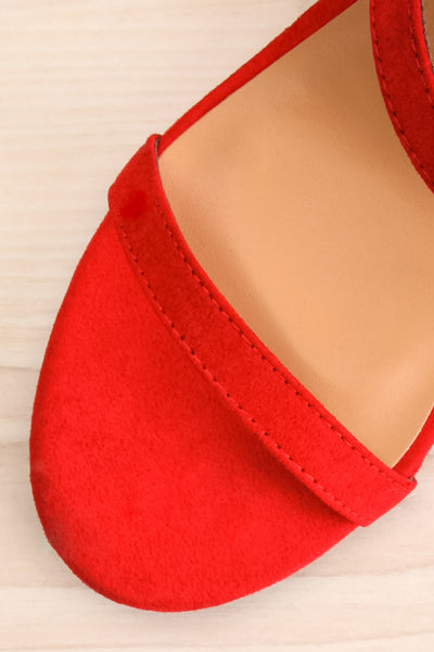 Lukow Red Faux Suede Sandals | La petite garçonne flat close-up