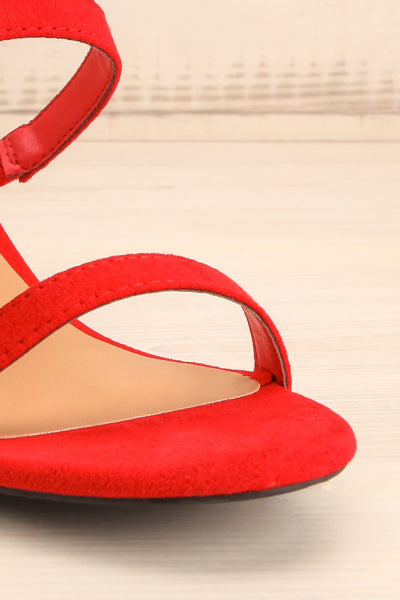 Lukow Red Faux Suede Sandals | La petite garçonne front close-up