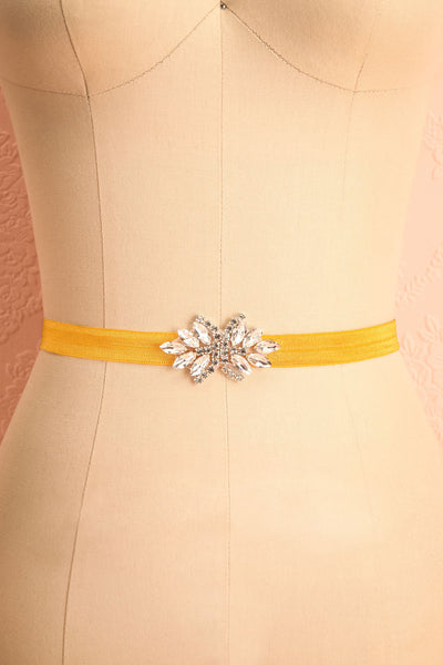Lumen Moutarde Mustard Ribbon Belt with Crystals | Boudoir 1861 4