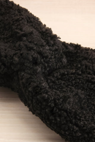 Luzzi Noir Black Wooly Fabric Headband flat close-up | La Petite Garçonne