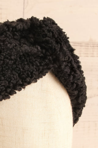 Luzzi Noir Black Wooly Fabric Headband close-up | La Petite Garçonne