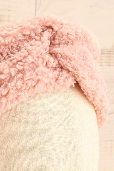 Luzzi Rose Pink Wooly Fabric Headband close-up | La Petite Garçonne