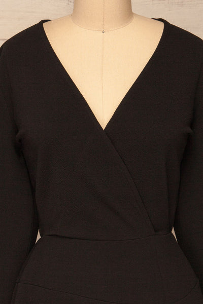 Lydie Noir Black A-Line Dress | Robe | La Petite Garçonne front close-up
