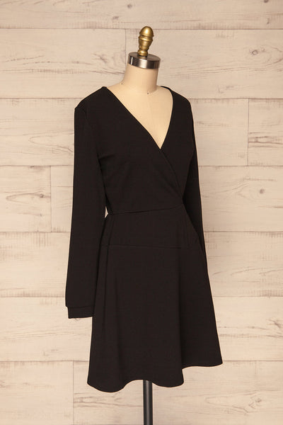 Lydie Noir Black A-Line Dress | Robe | La Petite Garçonne side view