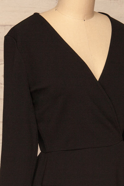 Lydie Noir Black A-Line Dress | Robe | La Petite Garçonne side close-up