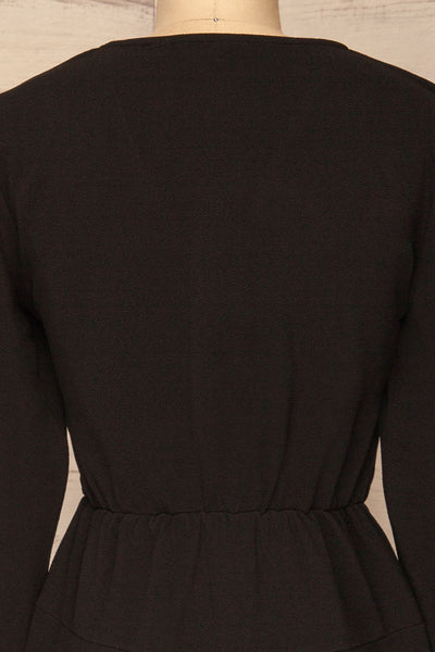 Lydie Noir Black A-Line Dress | Robe | La Petite Garçonne back close-up