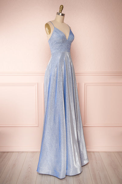 Maarit Blue Glittery Dress | Robe Maxi | Boutique 1861 side view