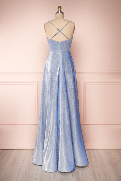 Maarit Blue Glittery Dress | Robe Maxi | Boutique 1861 back view