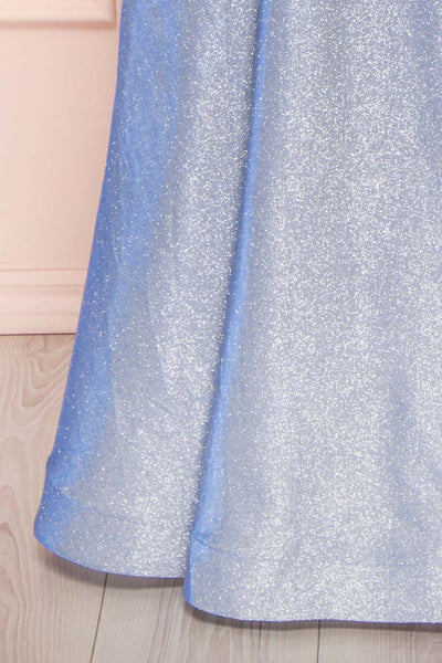 Maarit Blue Glittery Dress | Robe Maxi | Boutique 1861 bottom close-up