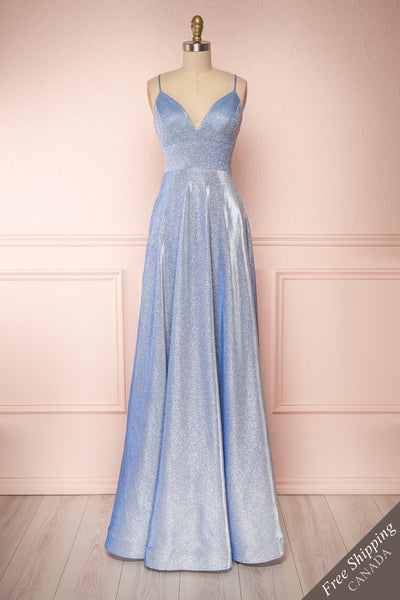 Maarit Blue Glittery Dress | Robe Maxi | Boutique 1861 front view