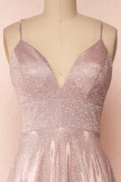 Maarit Blush Glittery Dress | Robe Maxi | Boutique 1861 front close-up